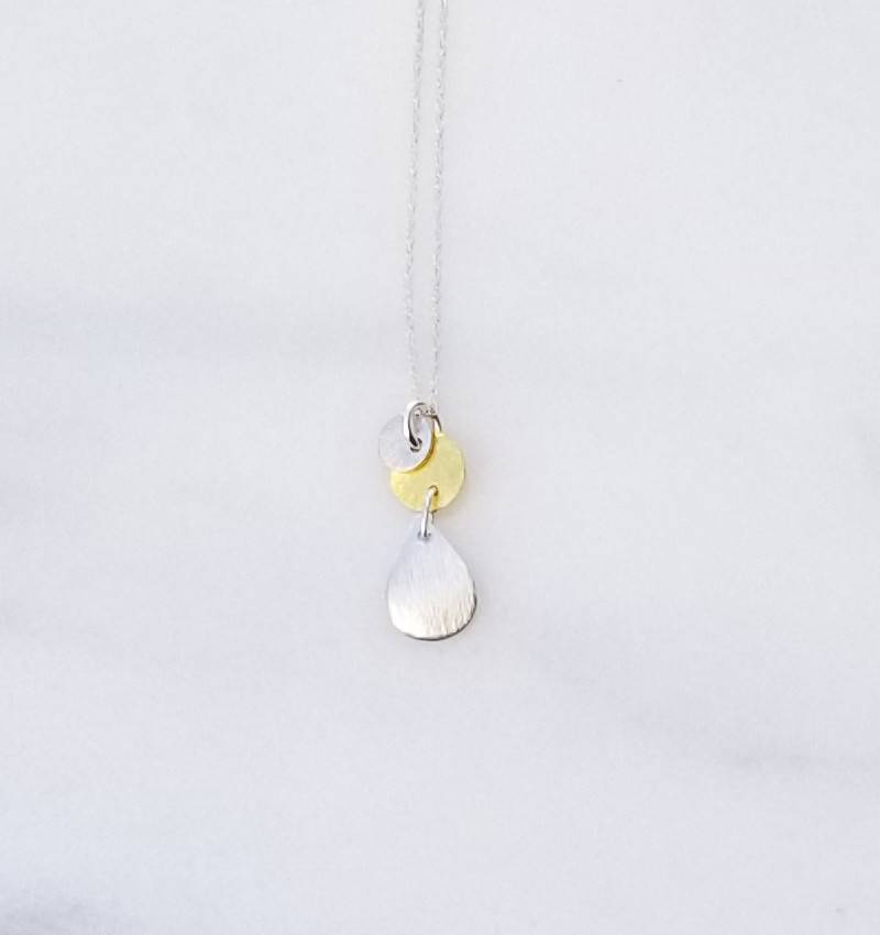 "Precila G Teardrop Discs Sterling Silver 14kt Gold Plated 16"" Necklace"