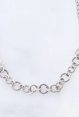 """Precila G Twisted Rings Oxidized Sterling Silver 16"""" Necklace"""