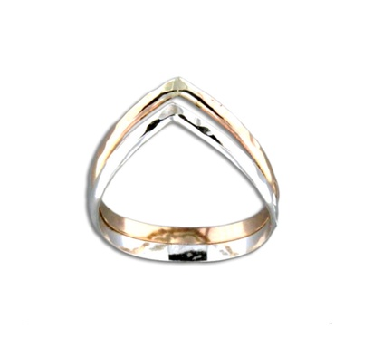 Mark Steel Double Half Round V Ring