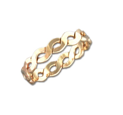 Mark Steel Flat Braid Ring - 4mm Gold Filled