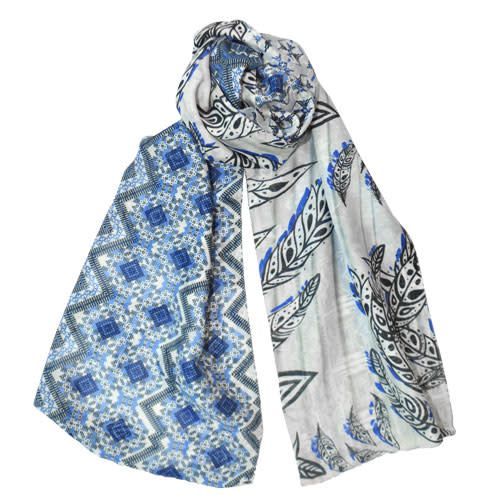 AE Scarves Dayton - Cotton/Silk, double-sided mixed geo- blue/white