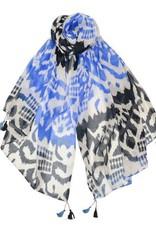 AE Scarves Elisha - 100% viscose scarf, screen, handwoven, tribal print w/corner bead tassel - blue/white