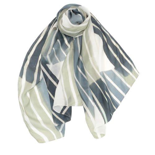 AE Scarves Freeform - 100% Silk, Handpainted stripes/color blocks - Pebble Gray