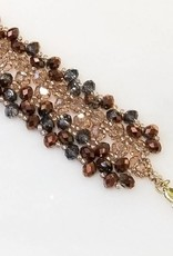 Esmeralda Lambert Rose Metallic Gold Filled Handwoven Crystal Bracelet