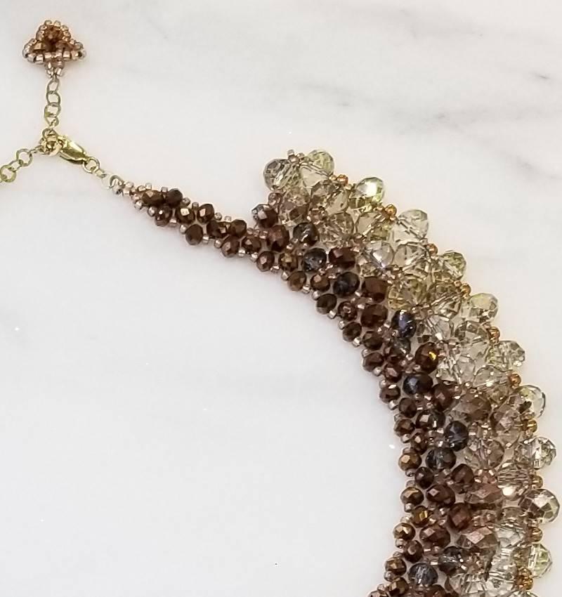 Esmeralda Lambert Rose Metallic Gold Filled Handwoven Crystal Necklace