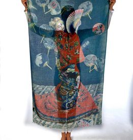 Printed Village La Japonaise Claude Monet MFA Boston Collection Scarf