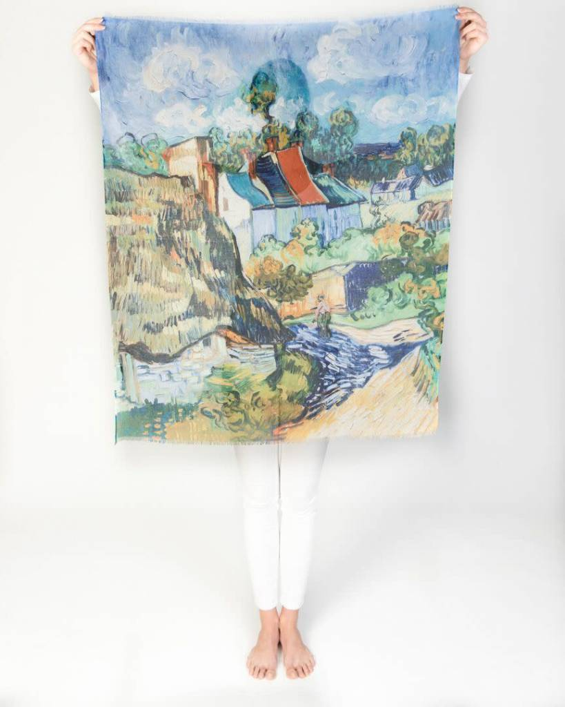 Printed Village Houses at Auvers Vincent van Gogh MFA Boston Collection Scarf