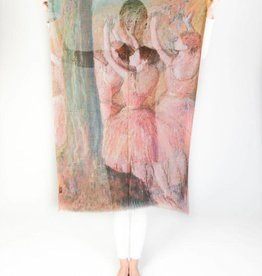 Printed Village Dancers in Roses Edgar Degas MFA Boston Collection Scarf