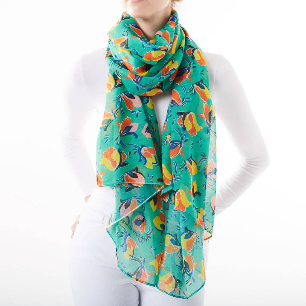 Printed Village Magnolia Blossoms Polyester Scarf