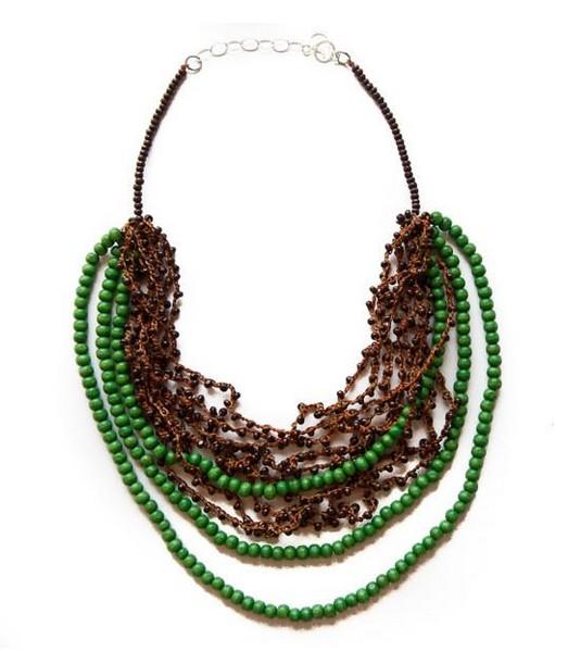 Angela Sanchez Green Pasca Wood Acai Berry Necklace