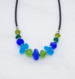 Austin Cake Ocean Rock Glass Nugget Necklace Atlantic Blues Greens
