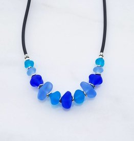 Austin Cake Ocean Rock Glass Nugget Necklace Pacific Blues
