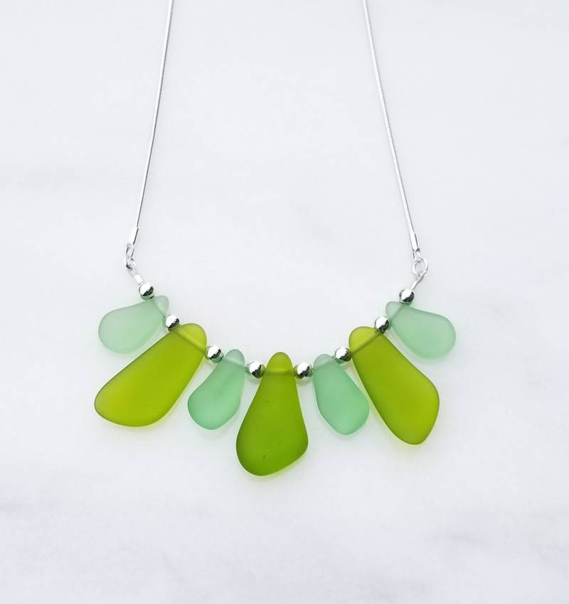 "Austin Cake Gulstream Greens Sea Fan Sea Glass Style Necklace 18"" Sterling Silver Snake Chain"