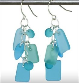 Austin Cake Earrings Cascade Aquamarine seafoam