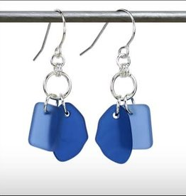 Austin Cake Earrings Duo Shades of Blue