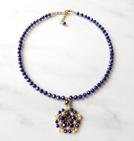 Esmeralda Lambert Royal Blue Pearl Gold Filled Handwoven Pendant Statement Necklace