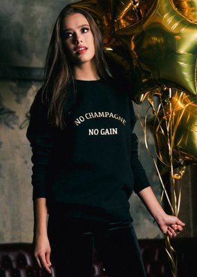 Brunette the Label No Champagne Gold Foil Crew
