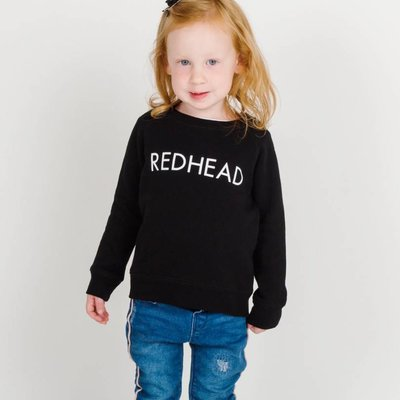 Little Babes by Brunette the Label Redhead Kids Crew - Black