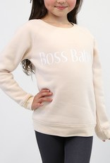 Little Babes by Brunette the Label Boss Babe Kids Crew - Peach