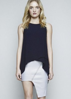 Pink Stitch Alexa top- Navy