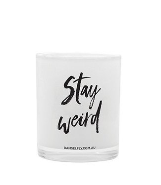 Damselfly Stay Weird Candle-lrg