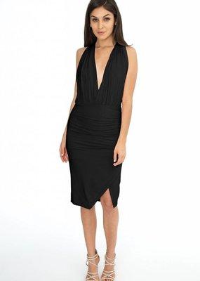 BOBI Black Drape wrap dress