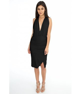BOBI Black Drape wrap dress