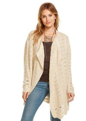 Chaser Crochet sweater front drape