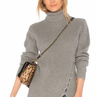 Mink Pink Secret Maze Laceup Sweater