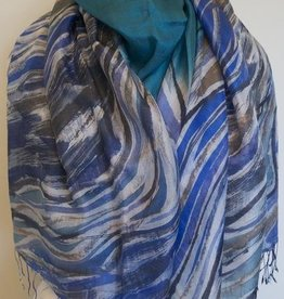 PR Thai Silk Art Color Waves Blue