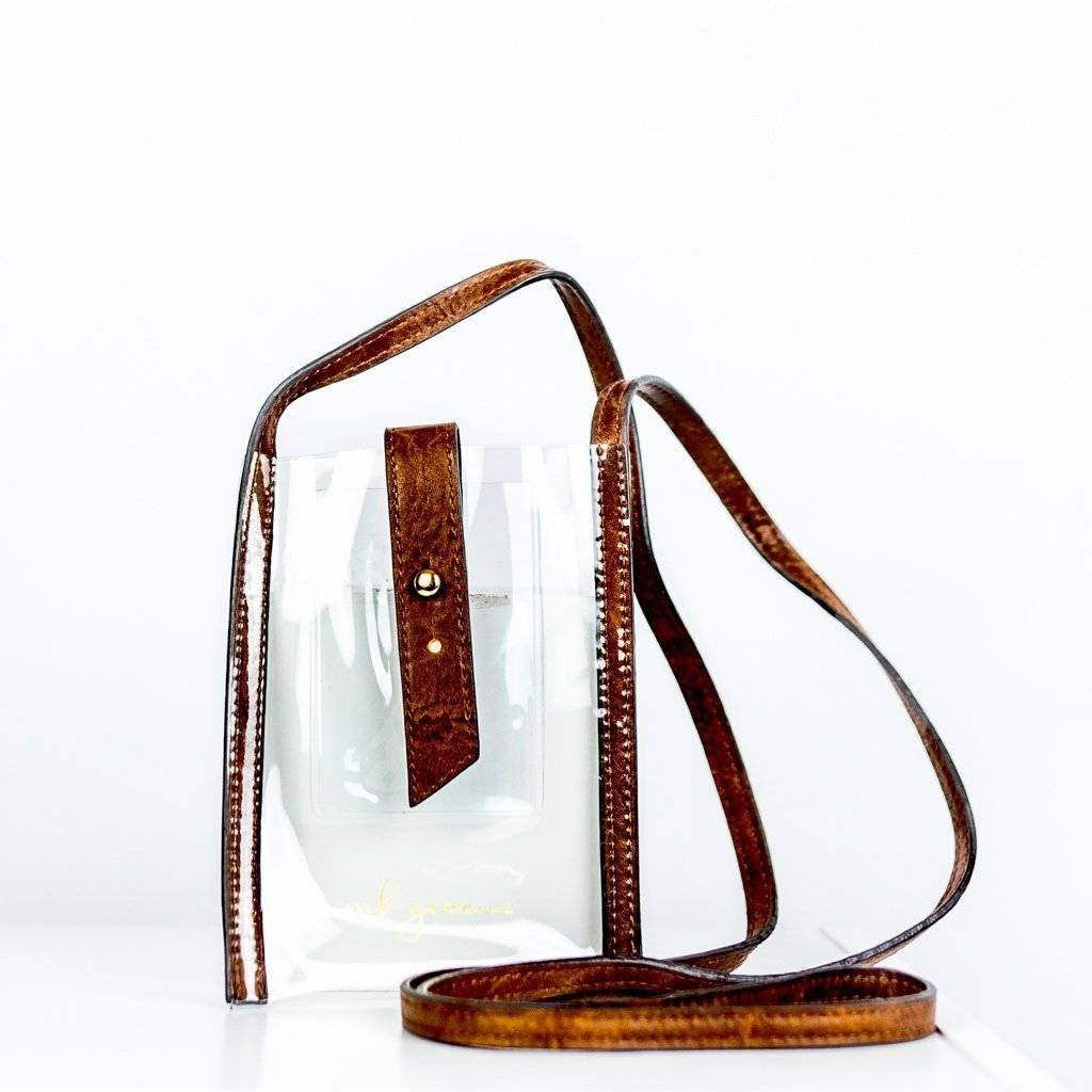 mb greene be clear phone purse