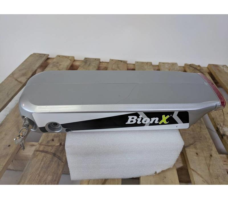 Used BionX RL Rear Rack Battery Silver 48V 6.6AH 317WH 5 Charge Cycles Serial: 3985-D14089029