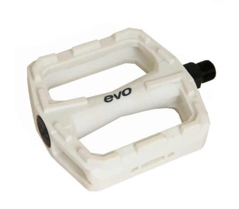 EVO, E-Sport MX PC, Platform pedals, Steel axle, White, 380g