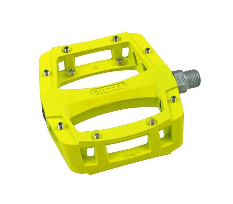 Gusset, Slim Jim, Platform pedals, Alloy body, Steel pins, Yellow
