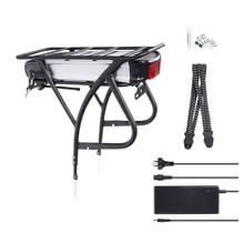 DEHAWK R2 48V13AH E-Bike Battery Kit, Bicycle Carrier Conversion kit incl. Charger, Silver/Black