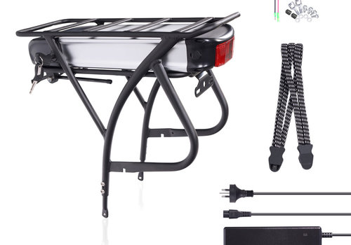 Das-Kit DEHAWK R2 48V13AH E-Bike Battery Kit, Bicycle Carrier Conversion kit incl. Charger, Silver/Black