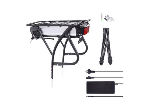 Das-Kit DEHAWK R2-48V13AH E-Bike Battery Kit, Bicycle Carrier Conversion kit incl. Charger, Silver/Black