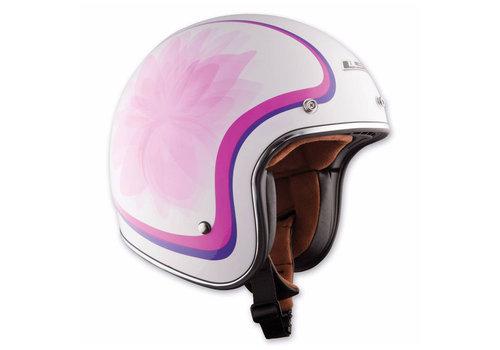 LS2 LS2 OF583 White/Pink Med Scooter Helmet