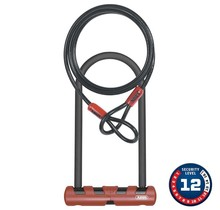 """Abus, Ultimate, U-Lock and cable, 105mm x 230mm (4.125'' x 9''), 10mm x 120cm (10mm x 3'11"""") cable, With USH bracket"""