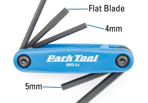 Park Tool, AWS-9.2, Folding screwdriver/ hex wrench set, 4mm, 5mm, 6mm, Flat blade and T25