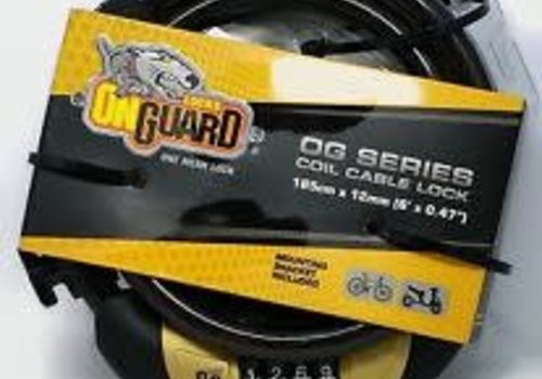 OnGuard, Doberman 5503, Coil cable with key lock, 12mm x 185cm