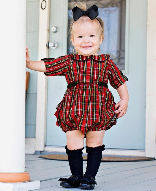 1e2ebdbe917d Tristan Plaid Peter Pan Bubble Romper | Plaid Baby Romper