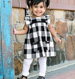 RuffleButts Black & White Plaid Jumper Dress