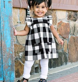 RuffleButts Black & White Plaid Jumper Dress