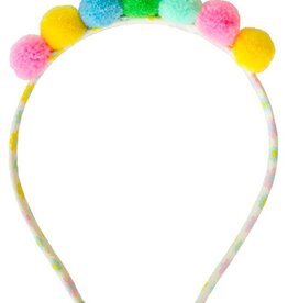 everbloom Everbloom Multi Colored Pom Pom Headband