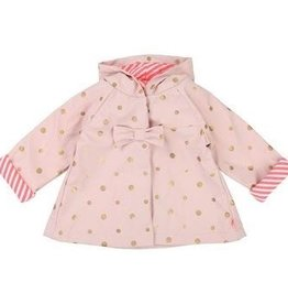 Billieblush Billieblush Lined Raincoat with Gold Dots and Bow