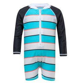 Snapper Rock Snapper Rock Aqua/Slate Stripe Sunsuit UV50+