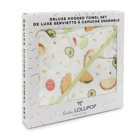 Loulou Lollipop Loulou Lollipop Hooded Towel Set- Tacos