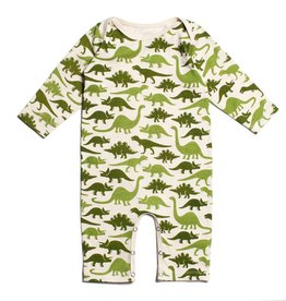 Winter Water Factory Winter Water Factory Long Sleeve Romper- Dino