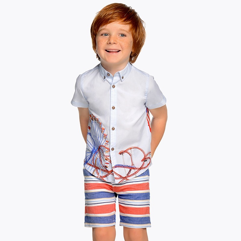 Mayoral Mayoral Striped Bermuda Short with Belt